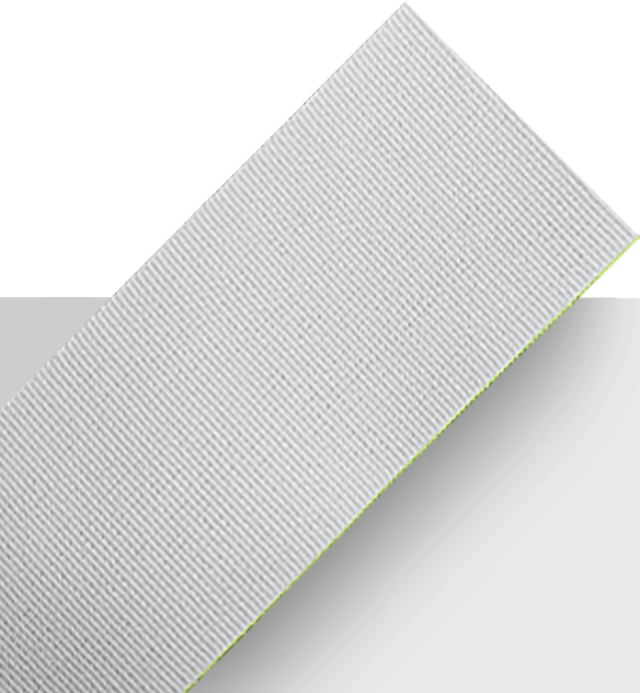 White Protex fabric with a green edge