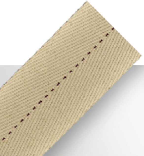 Tan cotton tape with dotted brown center line