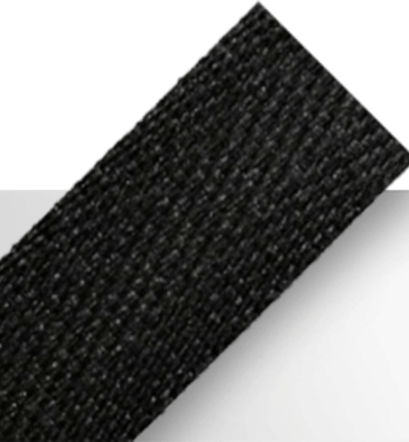 Black polyester tape available in lightweight, midweight, and heavyweight variations
